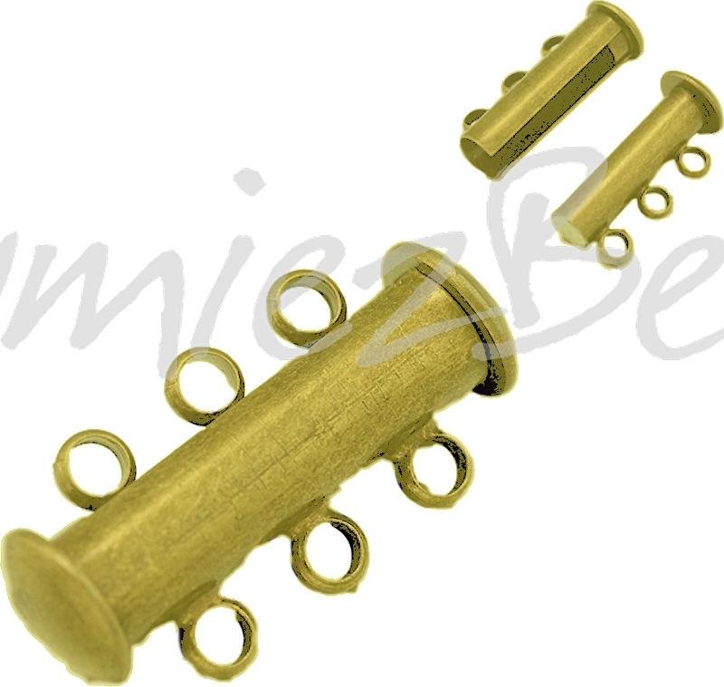 01587 Magneetschuifslot 3-rings Antiek brons (Nikkelvrij) 20mmx10mm 1 stuks
