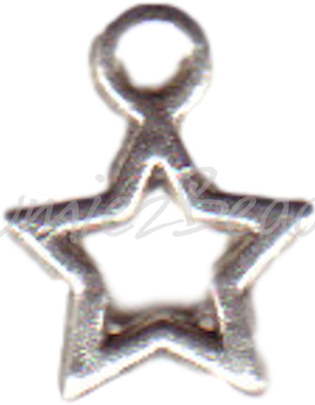 00204 Bedel ster open Antiek zilver (Nikkel vrij) 14mmx10mm