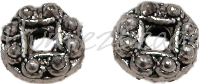 02639 Metalen kraal bedrukt Antiek zilver (Nickel vrij) 6mmx12mm