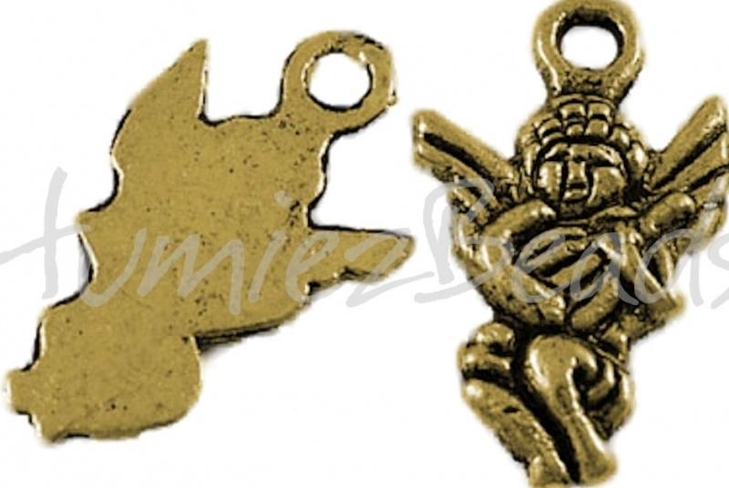 00116 Bedel engel met gitaar Antiek goud (Nickel vrij) 17,5mmx10,5mm