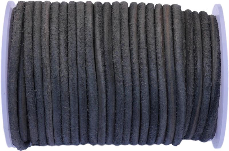 LK-4002 Leerkoord rond harig Grijs-zwart 4mm 1 meter