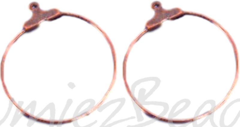 04052 Creolen voor aan oorbel Koperkleurig (Nikkelvrij) 30mm 3 paar