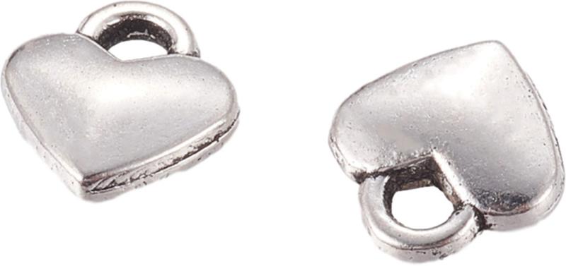 04469 Bedel Hart Antiek zilver (Nikkelvrij) 8mmx7mmx2,5mm; gat 2mm 15 stuks