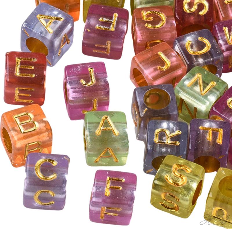 03948 Acrylkraal Letter Mixed color/Goudkleurig 6x6mm; gat 3,5mm ±20 gram