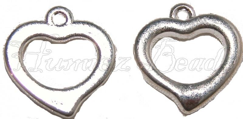 01838 Metallook bedel hart Zilverkleurig 18mmx17mm 7 stuks