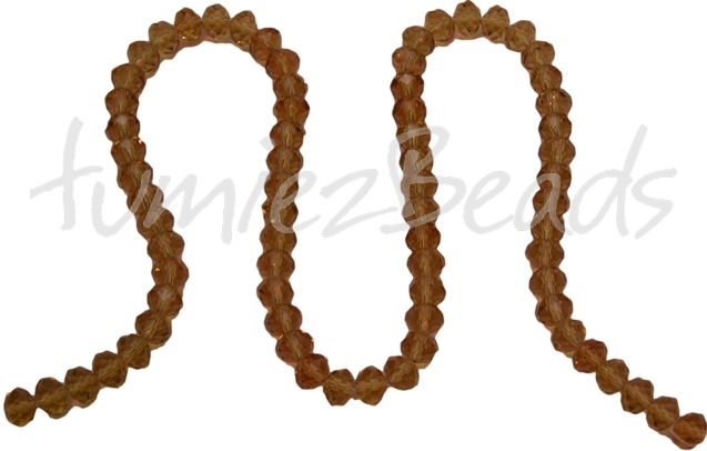 01435 Glaskraal imitatie swarovski faceted Abacus streng (±20cm) Geel 6mmx8mm 1 streng