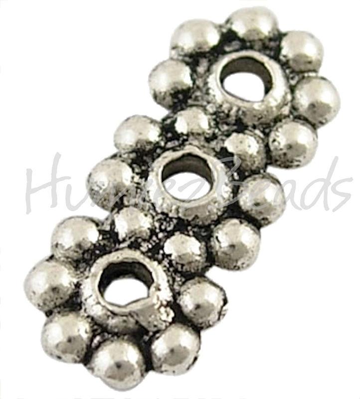 00092 Verdeler 3-gaats Antiek zilver (Nickel vrij) 13mmx6mm; gat 1,5mm 11 stuks