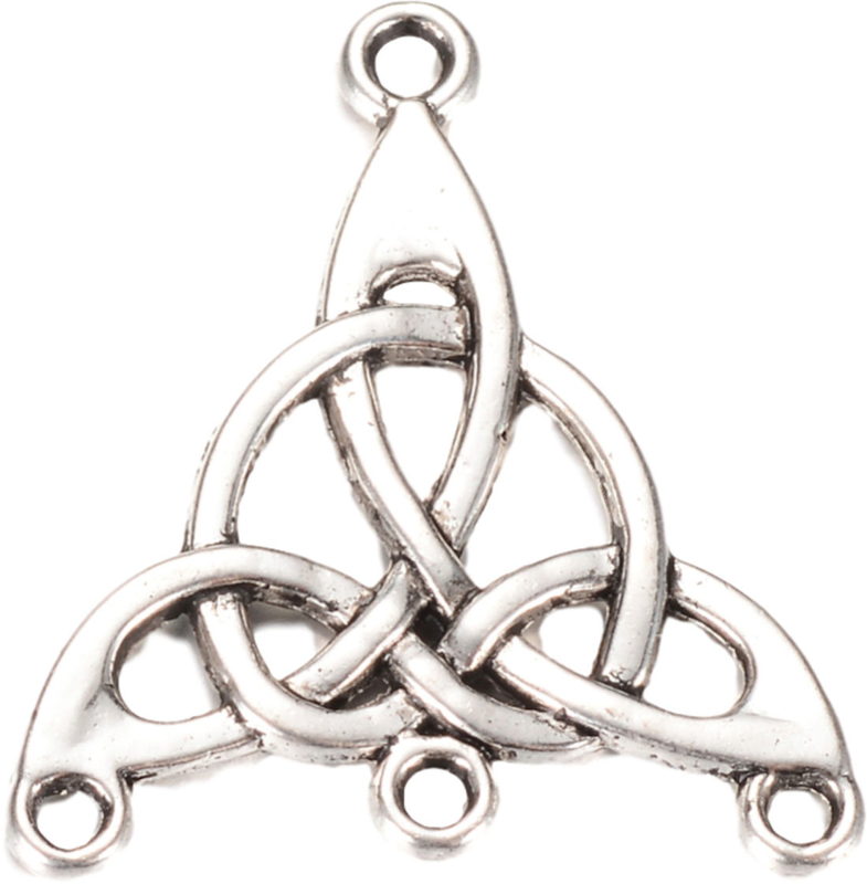 04501 Verdeler Triangel Infinity Antiek zilver (Nikkelvrij) 28,5mmx25mmx2mm; gat 2mm 4 stuks
