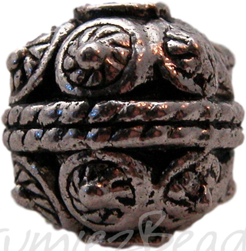 01148 Metaal kraal motief bedrukt Antiek zilver (Nikkelvrij) 3 stuks