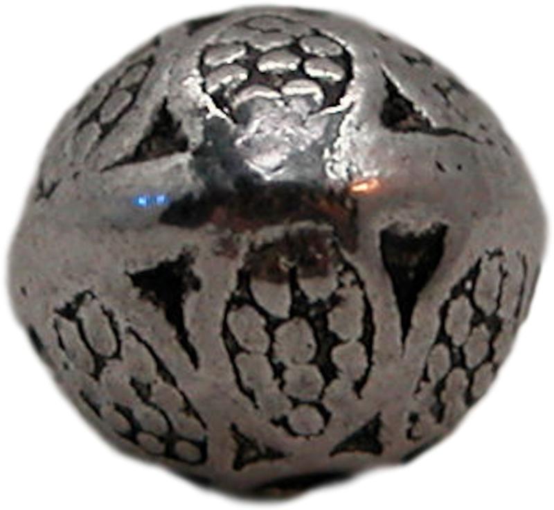 01370 Metalen kraal rond,  ovaal bedrukt Antiek zilver  4 stuks