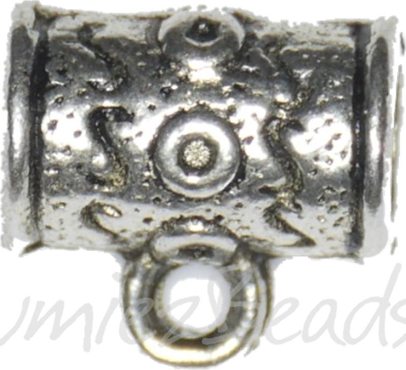 02096 Metalen kraal Waka met oog Antiek zilver 11mmx10,3mmx7mm; gat 4mm; gat oog 1,5mm 5 stuks