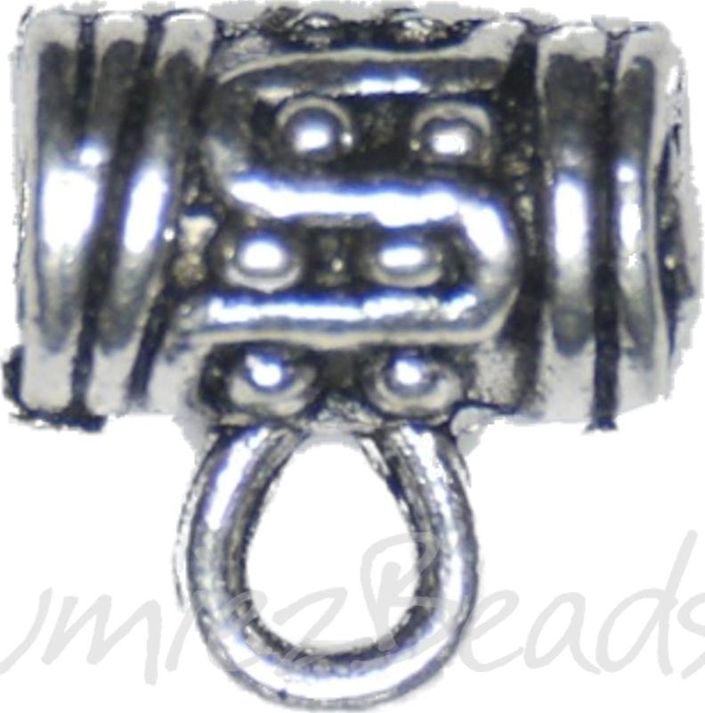 04025 Metalen kraal bolletjes met oog Antiek zilver 10mmx10mmx5mm; gat 3,5mm; oog 2mm 5 stuks