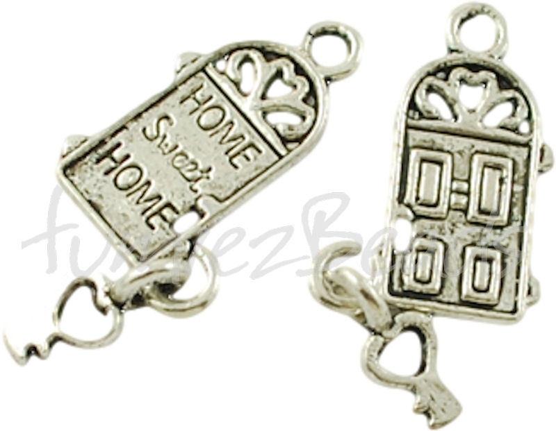 00368 Bedel home sweet home Antiek zilver (Nikkelvrij) 18mmx12mm 3 stuks