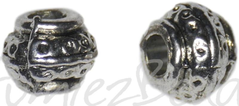00181 Metalen kraal pompoen groot gat Antiek zilver 7mmx9mm; gat 3,5mm 7 stuks