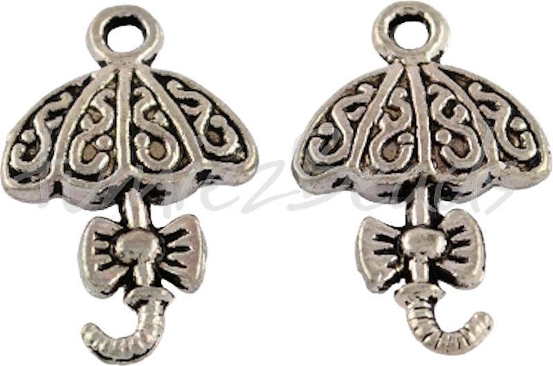 00207 Bedel paraplu Antiek zilver (Nikkel vrij) 20mmx13mm 6 stuks