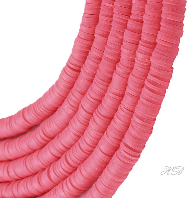 04583 Klei kralen streng ±20cm Katsumi /Heishi Fel roze 6x1mm; gat 2mm 1 streng