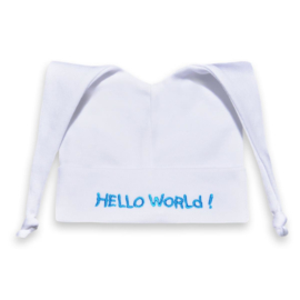 Babymutsje Hello World! (Wit / Turquoise)