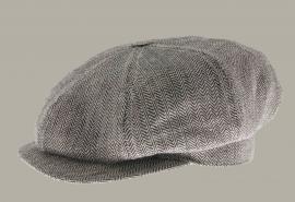 Pet `Börje Jr.` VäxboLin Black - newsboy cap - zwart/beige visgraat - maat 60 - CTH Mini