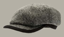 Pet `George Harris Tweed Black` - newsboy cap - grijs wollen visgraat - maat 58 - CTH Ericson