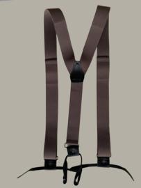 Bretels - bruin met zwarte leertjes - maat 134 t/m volwassen maat