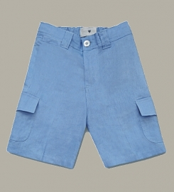 Little Linens 'Heritage Blue' linnen bermuda - maat 158/164 - LL50
