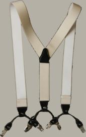 Bretels - crème - met luxe leertjes en clip - maat 134 t/m (kleine) volwassen maat - MC