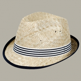 Fedora hoed 'Vince' Natural Straw donkerblauw/wit - maat 51 - FI
