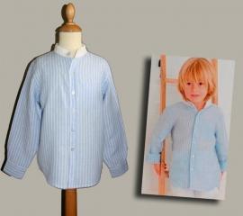 Little Linens blauw/wit linnen gestreept `granddad` overhemd - maat 74 - LL03