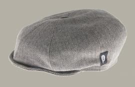 Pet `Theodor' Herringbone Beige - newsboy cap met oorflappen - beige visgraat - maat 56 - CTH Mini