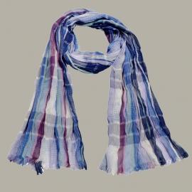 Shawl 'Matthias' blauw/bruin/roodturquoise geruit - handgeweven viscose/polyester - FI