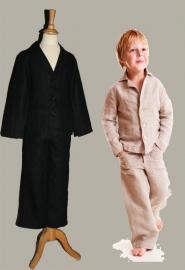 LinenKids zwarte linnen blazer en broek - maat 128 - LK103