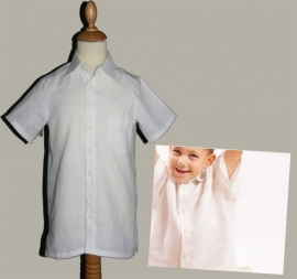 LinenKids wit linnen overhemd met korte mouw - maat 122 - LK37