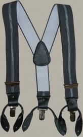 Bretels 'Willem' - grijs gestreept - met leertjes en clips - maat peuter/kleuter - DF