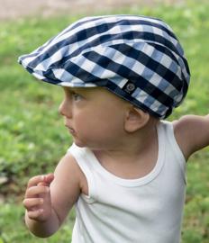 Pet 'Jens' Gingham Check Blue - flat cap - blauw geruit - maat 48-50/52-54 - CTH Mini