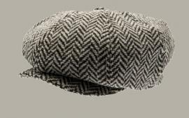 Pet `Olle Greyling Black/Grey` - newsboy cap - zwart wollen visgraat - maat 60 - CTH Ericson