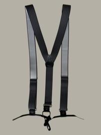 Bretels - grijs gestreept met zwarte leertjes - maat 134 t/m volwassen maat
