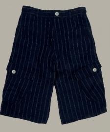 Little Linens donkerblauwe linnen krijtstreep bermuda - maat 134 - LL11