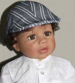 Pet `Simon` - driver-cap - donkerblauw/wit gestreept - maat 52/54/56 - FI