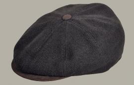 Pet `Clément` - newsboy cap - bruin wollen visgraat - maat 54/55 - FI