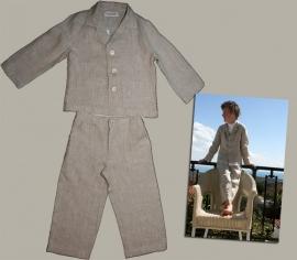 LinenKids ecru linnen set: blazer en broek - maat 116 (valt ruim) - LK