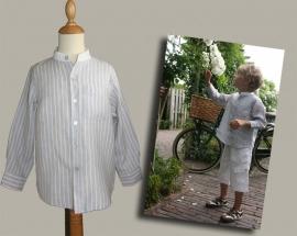 Little Linens lichtgrijs/wit gestreept `granddad` overhemd - maat 80/86 - LL02
