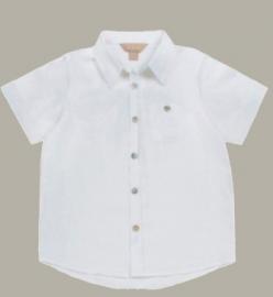 Little Linens wit linnen overhemd met korte mouw - maat 110/116 - LL36