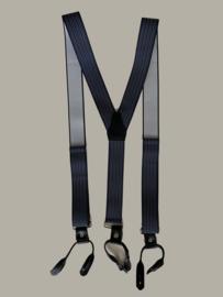Bretels - donkerblauw gestreept met zwarte leertjes - maat 134 t/m volwassen maat