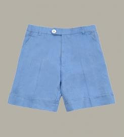 Little Linens 'Heritage Blue' linnen bermuda shorts - maat 80 - LL49