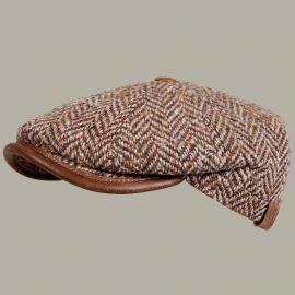 Pet `Emiel` - newsboy cap - bruin wollen visgraat - maat 55/56 - FI
