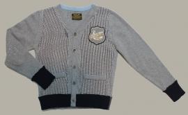Replay vest grijs/blauw/bruin pied-de-poule dessin - maat 164 - MKC02