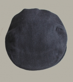 Pet  'Jonas' - donkerblauw linnen newborn baby flat-cap - maat 36-38 - ClassyBoy