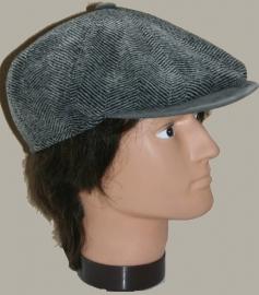 Pet `Antoine` - newsboy cap - grijs wollen visgraat - maat 54/55 - FI
