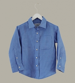 Little Linens 'Heritage Blue' - blauw overhemd - maat 110/116 - LL38