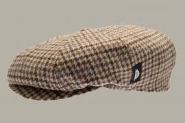 Pet `Theodor Eleganta Beige` - newsboy cap met oorflappen - beige geruit - maat 46/50 - CTH Mini